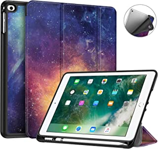 Fintie iPad 9.7 2018 Case with Built-in Apple Pencil Holder - [SlimShell] Lightweight Soft TPU Back Protective Stand Cover with Auto Wake/Sleep for Apple iPad 2018 9.7 Inch (6th Gen), Galaxy