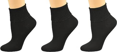 Sierra Socks Women's Diabetic 100% Cotton Ankle Turn Cuff 3 Pair Pack