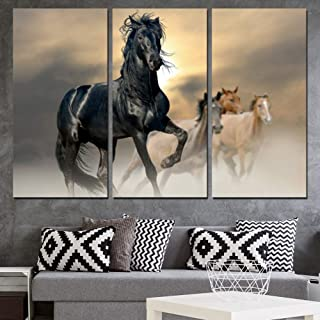 ZXCVWY 3 Panels Printed Black Horse Animal Painting Canvas Living Room Decoration Wall Art Poster Picture Canvas