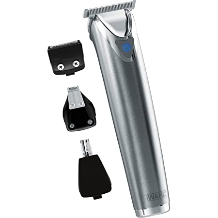 Wahl Stainless Steel Lithium Ion+ Beard and Nose Trimmer for Men, Hair Clippers, Detail Shaver, Rechargeable, All in One Men's Grooming Kit - Model 9818