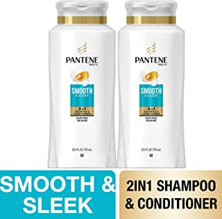 Pantene, Shampoo and Conditioner 2 in 1, Pro-V Smooth and Sleek for Dry Hair, 25.4 fl oz, Twin Pack