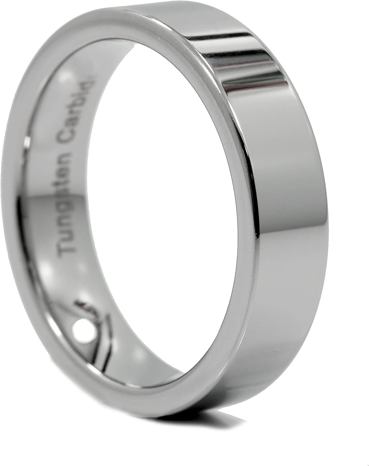 MJ Metals Jewelry 6mm Flat Pipe Cut Tungsten Carbide Wedding Band Mirror Polished Ring Size 11