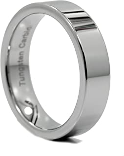 MJ Metals Jewelry 3, 4, 6, or 8mm Flat Pipe Cut Tungsten Carbide Mirror Polished Ring Band