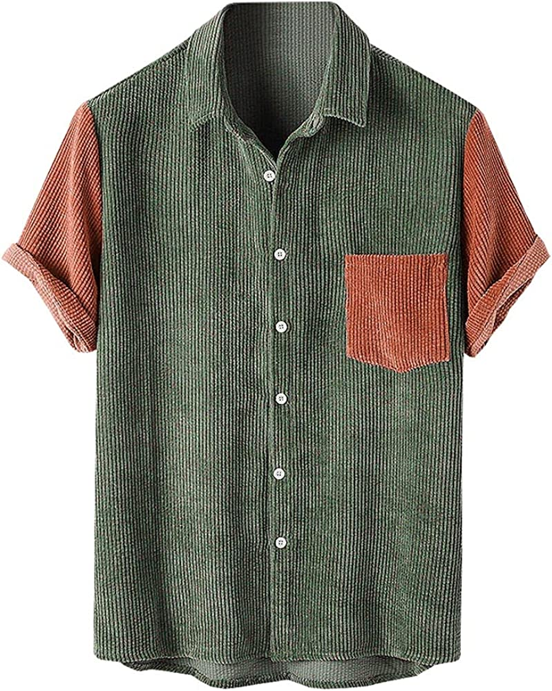 SCOFEEL Men's Patchwork Plaid Shirts Turn Down Collar Short Sleeve Lightweight Shirt Jackets