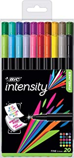 BIC Intensity Fineliner, 0.4mm, Assorted Colors with Reusable Pack, 20-Count