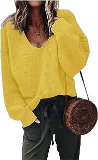 ZHENWEI Womens V-Neck Sweater Pullover Long Sleeve Oversized Loose Sweatshirts