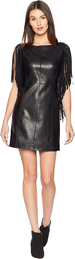 Fringe Sleeve Faux Leather Dress