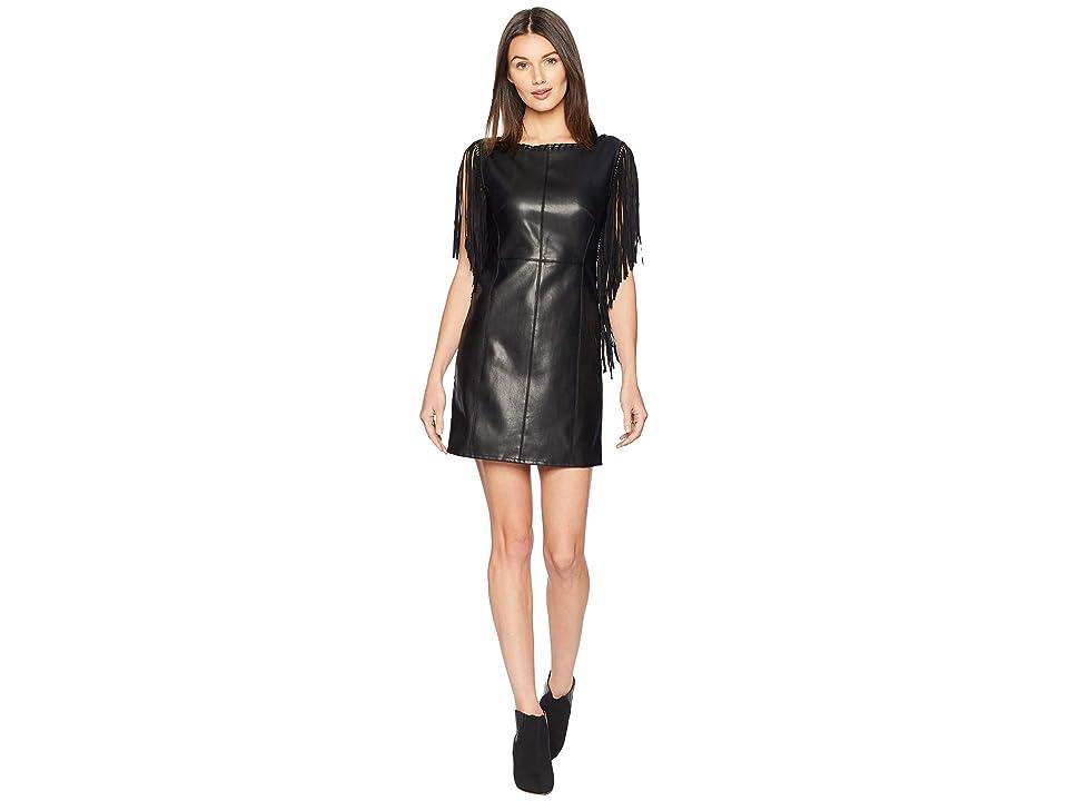 ROMEO & JULIET COUTURE Fringe Sleeve Faux Leather Dress (Black) Women