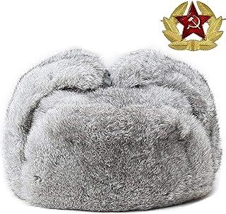 Mens Fur Hat Rabbit Fur Russian Ushanka Hats Earflap Trapper Hat for Winter