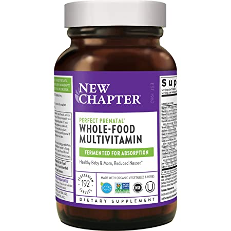 New Chapter Perfect Prenatal Vitamins - 192ct, Organic Prenatal Vitamins, Non-GMO Ingredients for Healthy Baby & Mom - Folate (Methylfolate), Iron, Vitamin D3, Fermented with Whole Foods and Probiotic