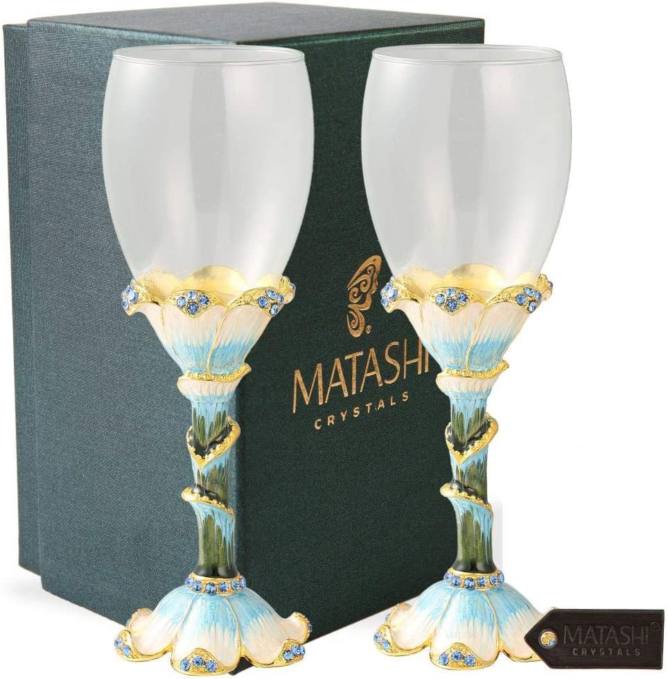 Matashi Long Stem Wine Clearance SALE Limited time Price reduction Glass Stemware with Hand Painted Pewter