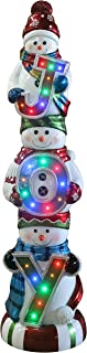 Fraser Hill Farm FFRS060-SNM1-WT Indoor/Outdoor Oversized Christmas Long-Lasting LED Lights, 5-Ft. Stacking Snowman Trio with Joy Sign Holiday Decoration, White