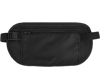 HJY Cinturón de Viaje Rinonera Interior para Dinero con Protección RFID Bolso Cartera Oculta de Viaje para Viaje/Correr/Vida cotidiana/Senderismo para Mujeres y Hombres Negro (Negro)