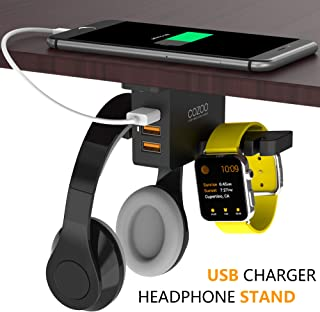 Headphone Stand with USB Charger COZOO Under Desk Headset Holder Mount with 3 Port USB Charging Station and iWatch Stand S...