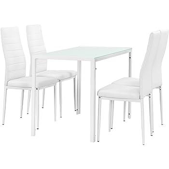 en.casa] Juego de Comedor Moderno Mesa Blanca + 4 sillas Blancas ...
