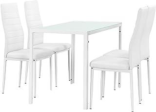 [en.casa] Set de Comedor Moderno Mesa Blanca + 4 sillas Blancas Piel sintética