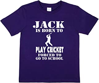 Print4u Personalised T-Shirt Jack Born to Play Cricket Tee