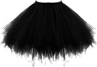 Neón Tutu Falda Mujer Adultos 80s Neón Tutú Cortas Tul Enaguas Underskirt Burbuja Falda Crinolinas 1980s Neón Accesori Disfraz 50s Disco Ballet Danza Skirt Vestido Baile Vestimenta