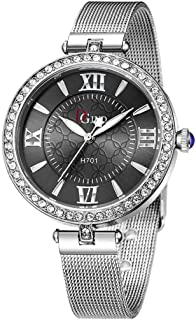 vmree Women Luxury Stainless Steel Mesh Belt Quartz Wrist Watch Petite Crystal Diamond Analog Dress Watch Ingenuity for Gift