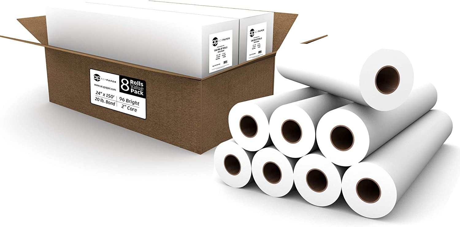 Max Gifts 71% OFF 8 ROLLS VALUE PACK. Plotter Paper 24 Rolls x 150 20 CAD