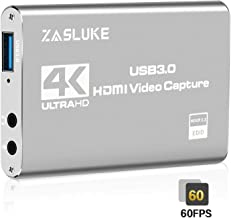 ZasLuke 4K HDMI Game Capture Card,USB 3.0 HD Game Video Capture Card 1080P 60FPS Game Recorder Box Device Live Streaming for PS4,Nintendo Switch,Xbox One&Xbox 360 and More (Silver)