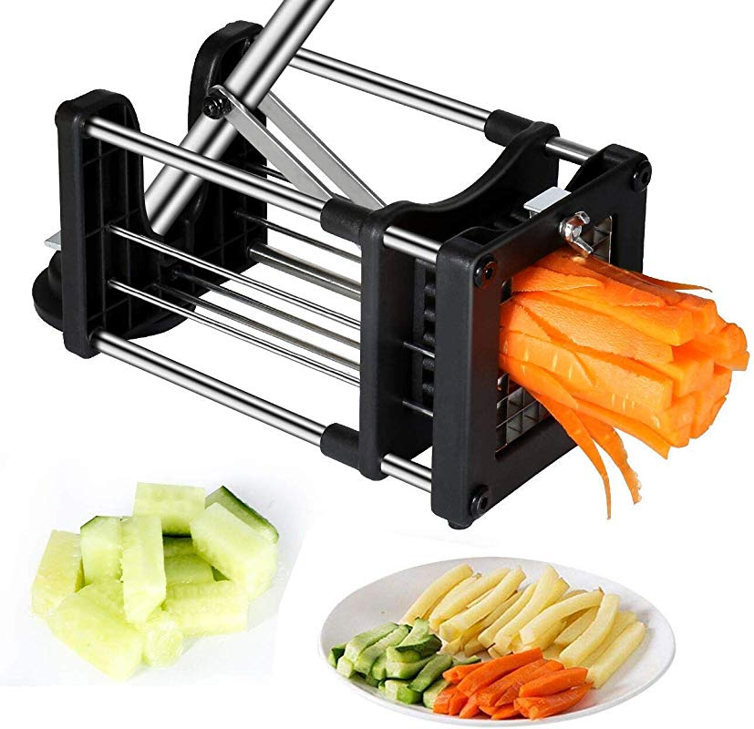 Reliatronic French Fry Cutter With Extended Handle Heavy Duty Potato Chipper With With 2 Different Size Super Sharp Stainless Steel Replacement Blades Silver Black