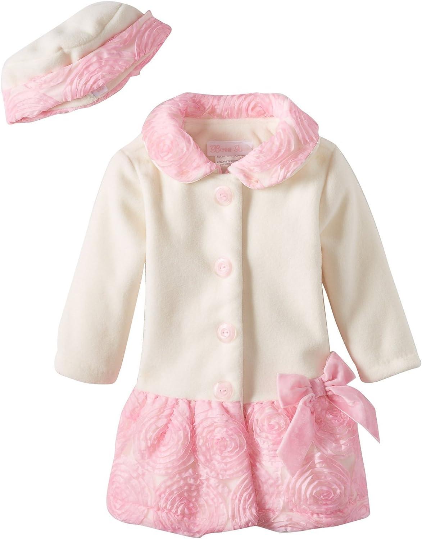 Bonnie Jean Little-Girls Toddler Bonaz Trim Fleece Coat and Hat Set HAIV2, Ivory