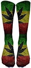 zhulaowufenbaoyouxi Patrón de la bandera Rasta con una hoja de hierba Calcetines unisex casuales Calcetines largos hasta la rodilla Calcetines deportivos deportivos Un tamaño 50CM tendencia 1050