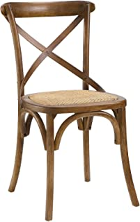 Modway Gear Rustic Farmhouse Elm Wood Rattan Kitchen and Dining Room Chair in Walnut - Fully Assembled