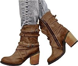 Dasongff Enkellaarsjes voor dames, modieuze laarzen met lage hakken, comfort, waterdicht, voor herfst en winter, laarzen