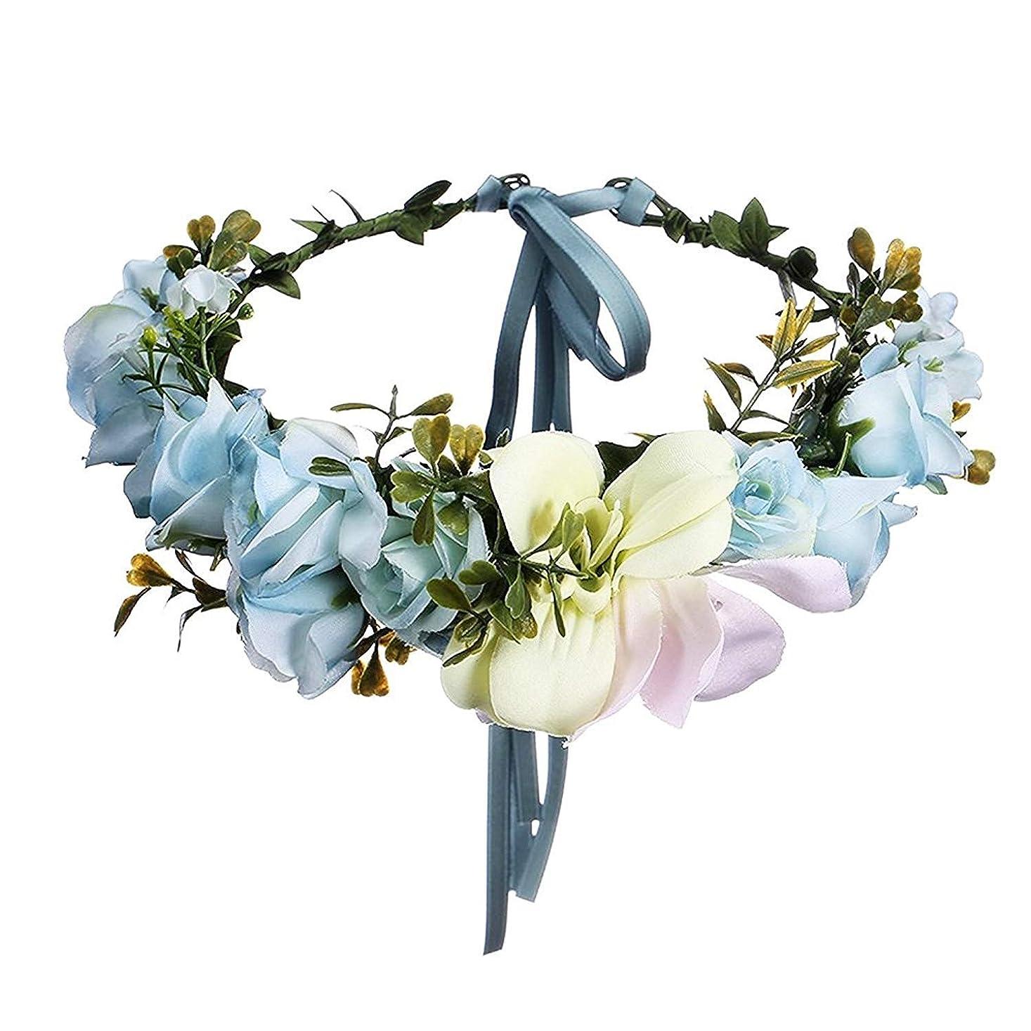 Onior 調節可能 花嫁 ヘアアクセサリー 百合花 カチューシャ リボン, ファッション フラワー ヘアバンド 花輪 リボン アクセサリー 1 PCS ブルー