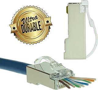 LINKUP - Snagless RJ45 Cat6 STP Connectors EZ Pass Through Ends   Ethernet Cat 6 8P8C Solid Plugs   STP Gigabit Round Cabl...