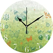 FunnyCustom Round Wall Clock Happy St Patrick Day Lucky Four Leaf Clovers Acrylic Creative Decorative for Living Room/Kitchen/Bedroom/Family