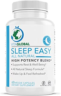 Sleep Easy | All Natural Formula | High Potency Blend | Easy Supports Rest & Well Being | Dietary Supplement and Vitamin b...
