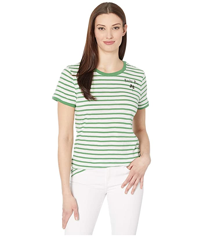 Lucky Brand  Short Sleeve Crew Neck Lucky You Striped Tee (Green Multi) Womens Clothing