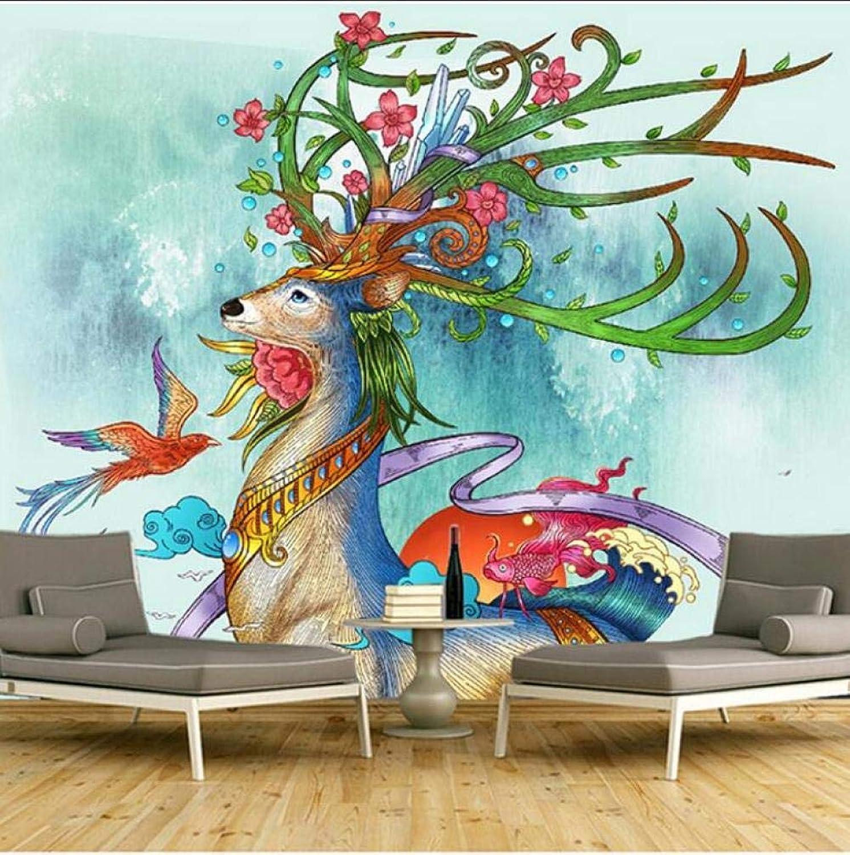 Papel pintado autoadhesivo infantil 3D Alce salón dormitorio TV fondo parojo decoración mural no tejido