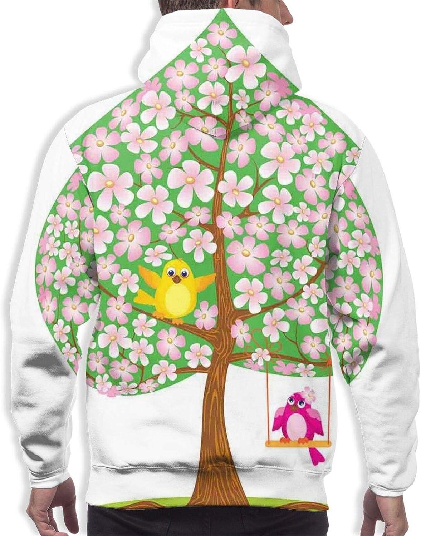 Men's Hoodies Sweatshirts,Heart Shape Spring Tree with Flowers Blossom and Singing Bird Valentines Love