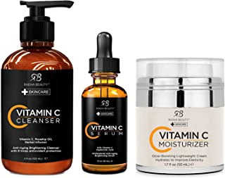 Radha Beauty Vitamin C Complete Facial Care Kit - 3-in-1 Anti-Aging Set with Cleanser, Serum, and Moisturizer for Wrinkles...