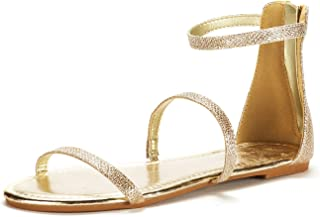 d6bfff1595f734 DREAM PAIRS Women s Athena Low Gladiator Ankle Strap Fashion Flat Sandals