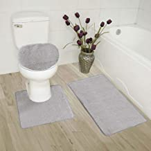 Elegant Home Goods Solid Color 3 Piece Bathroom Rug Set Bath Rug, Contour Mat, Lid Cover Non-Slip with Rubber Backing Soli...