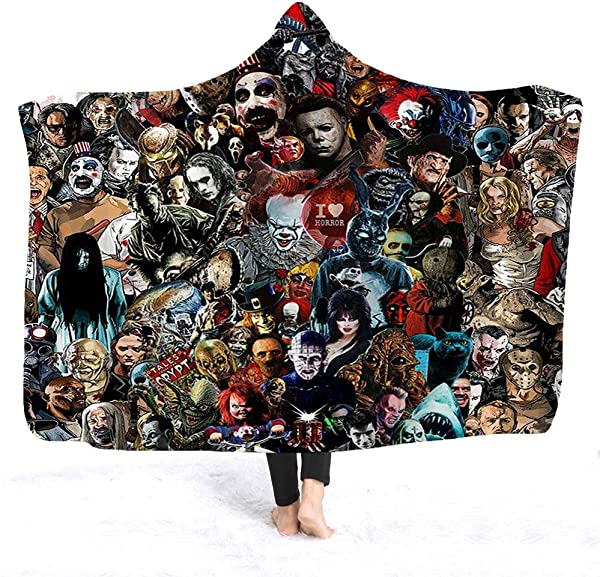 YEARGER Horror Movie Character Hooded Blanket For Adult Gothic Sherpa Fleece Wearable Throw Blanket Microfiber Bedding