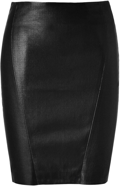 RedSeam Women's Leather Skirt Soft Lambskin Cheap Free Shipping New sale Genuine Knee