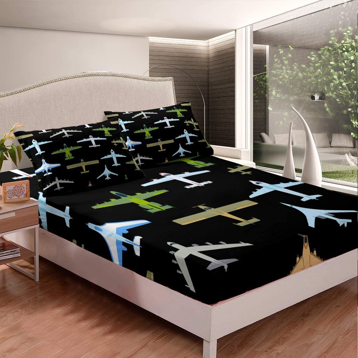 Feelyou Guitar Print Bed Sheet Set Boys Teens Rock Music Theme Fitted Sheet Youth Electric Guitar Bedding Set Musical Instrument Bed Cover,Room Decor 2Pcs Sheets Twin,White