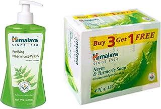 Himalaya Purifying Neem Face Wash, 400 ml and Himalaya Neem and Turmeric Soap, 125g (Buy 3 Get 1 Free)