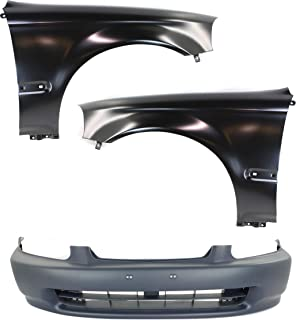 Bumper Cover Kit Compatible with 1996-1998 Honda Civic Fender Bumper Cover