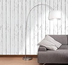 ورق جدران لاصق ذاتياً لون ابيض بتصميم خشب للاعمال المنزلية مقاس 45×600 سم مع بلاستيك بي في سي مضاد للماء ومضاد للزيوت وقاب...