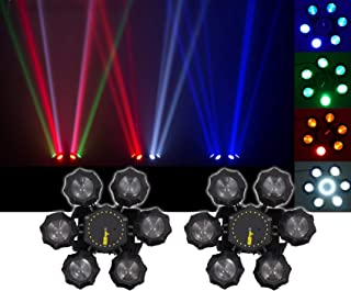 (2) Chauvet DJ Helicopter Q6 DMX Rotating Dance Floor FX Lights w/Strobes+Lasers