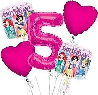 Princess Balloon Bouquet 5th Birthday 5 pcs - Party Supplies