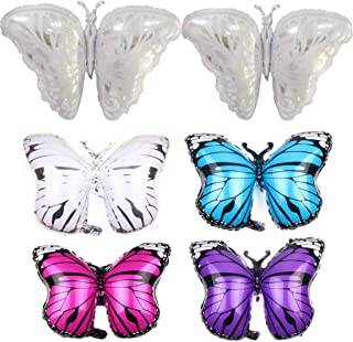 Butterfly Balloons Set of 6, Butterfly Helium Balloons Decor Fit for Various Party - Wedding, Birthday Party, Summer Party and More (Sliver: 42×26in, Others:27×20in)