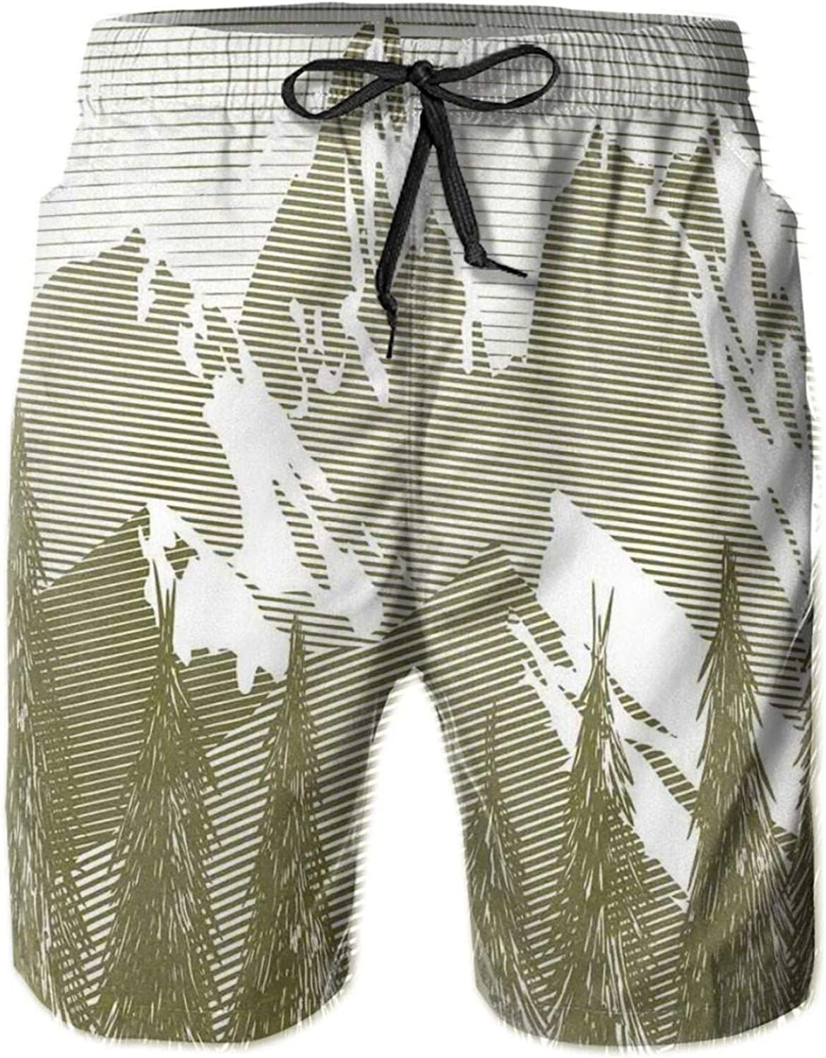 MUJAQ Woodcut Style Landscape Image with Trees and Mountain at The Background Mens Swim Shorts Casual Workout Short Pants Drawstring Beach Shorts,XL
